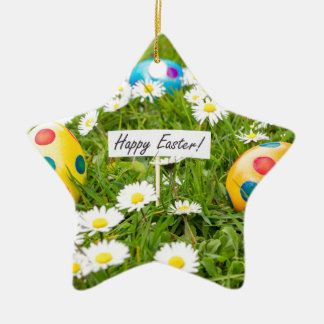 Painted Easter eggs in grass with white daisies Ceramic Ornament