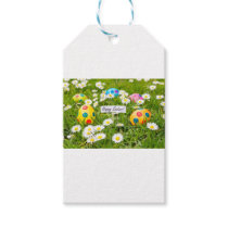 Painted Easter eggs in grass with white daisies Gift Tags