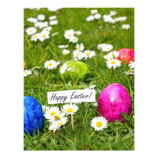 Painted Easter eggs in grass with white daisies Letterhead