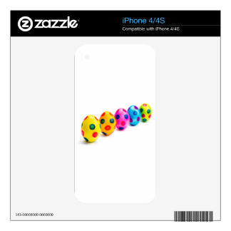 Painted easter eggs in row on white background decals for iPhone 4S
