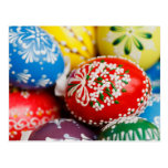 Painted Easter Eggs - Red Green Yellow Blue Post Card