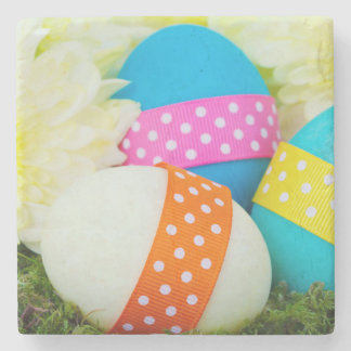 Painted Easter Eggs, Ribbons, Dots, Flowers Stone Coaster
