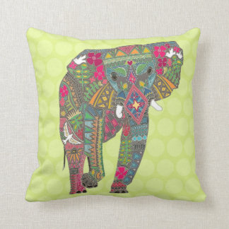 painted elephant chartreuse dot throw pillow