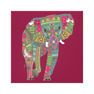 painted elephant pink canvas print