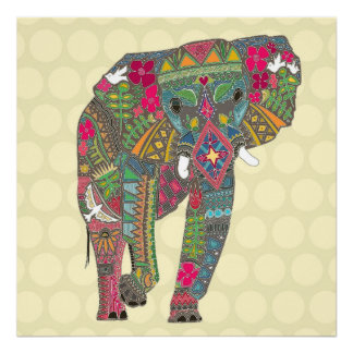 painted elephant straw dot poster