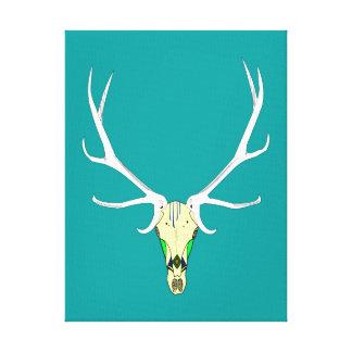 Painted Elk Skull Canvas Print