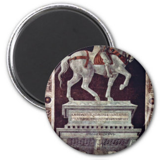Painted Equestrian Statue Of Giovanni Acuto Fridge Magnets