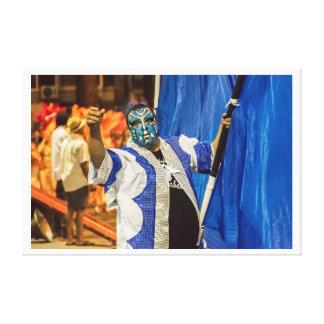 Painted Face Man at Inagural Parade of Carnival Canvas Print