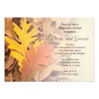 Painted Fall Leaves Wedding Rehearsal Dinner Custom Invitations