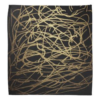 Painted Faux Gold Scribbles Pattern Bandana