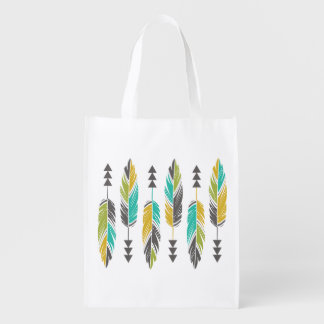 Painted Feathers-Yellow Green Teal Reusable Grocery Bag