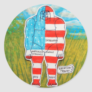 painted flag big foot Australo Classic Round Sticker