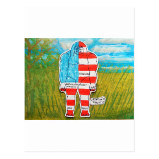 painted flag big foot Australo Post Card