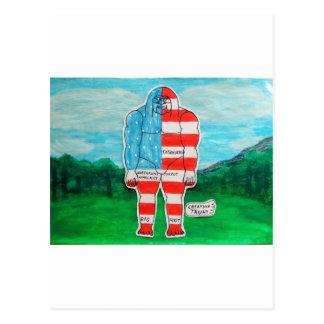 Painted flag Big foot Austrol Postcards