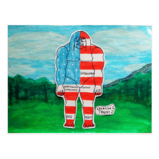 Painted flag Big foot Austrol Postcard