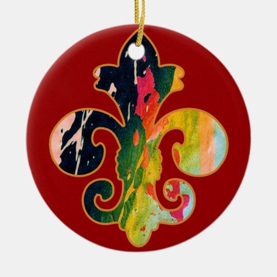 Painted Fleur de lis 1 Ceramic Ornament