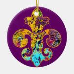 Painted Fleur de lis 4 Double-Sided Ceramic Round Christmas Ornament