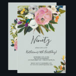 "Painted Floral 90th Birthday Invitation<br><div class=""desc"">This painted floral 90th birthday invitation is perfect for a modern birthday party. The elegant and romantic design features beautiful painted acrylic flowers in blush pink and white,  with pops of colorful purple,  blue,  orange and yellow.</div>"