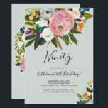"""Painted Floral 90th Birthday Invitation<br><div class=""""desc"""">This painted floral 90th birthday invitation is perfect for a modern birthday party. The elegant and romantic design features beautiful painted acrylic flowers in blush pink and white,  with pops of colorful purple,  blue,  orange and yellow.</div>"""