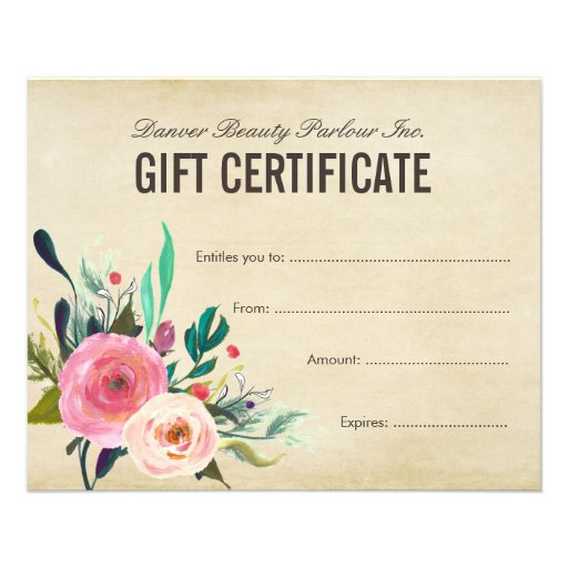 Painted floral beauty salon gift certificate flyer zazzle for Zazzle gift certificate