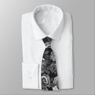 Painted Floral Black & White Tie