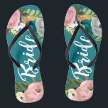 "Painted Floral Blooms Bride Flip Flops Sandals<br><div class=""desc"">White script bride over exquisite acrylic florals and custom color background. 
