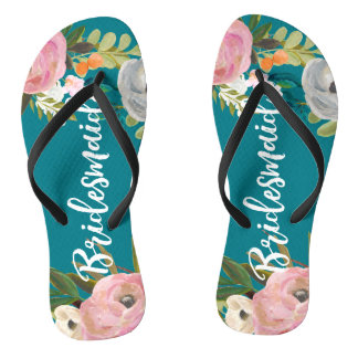Painted Floral Blooms Bridesmaid Flip Flops