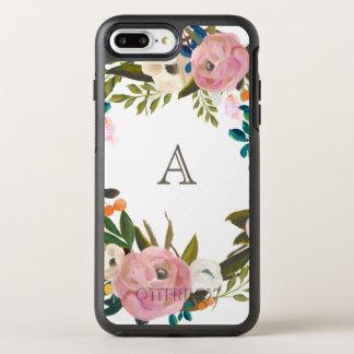 Painted Floral Blooms Monogram White Otter OtterBox Symmetry iPhone 8 Plus/7 Plus Case