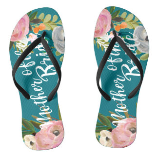 Painted Floral Blooms Mother of the Bride Sandals Flip Flops
