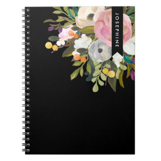 Painted Floral Blooms Personalized Notebook