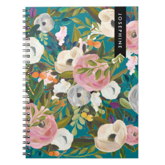 Painted Floral Blooms Personalized Notebook III