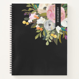 Painted Floral Blooms Personalized Spring Black Notebook