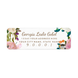 Painted Floral Blooms Return Address Labels II
