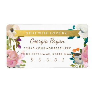 Painted Floral Blooms Shipping Address Labels