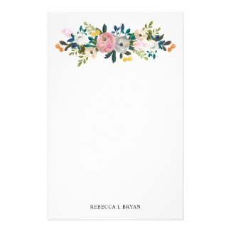 Painted Floral Blooms Spring Garden Garland Stationery
