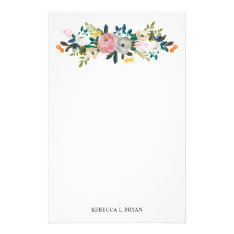 Painted Floral Blooms Spring Garden Garland Stationery at Zazzle