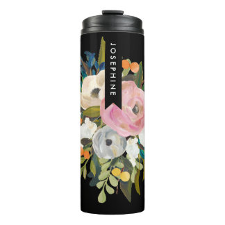 Painted Floral Bouquet Personalized Name Thermal Tumbler