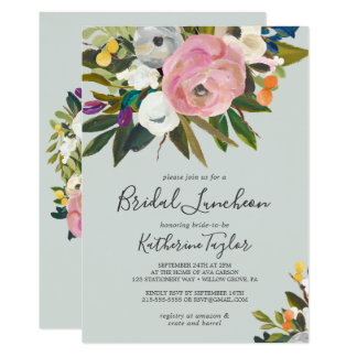 Painted Floral Bridal Luncheon Invitation