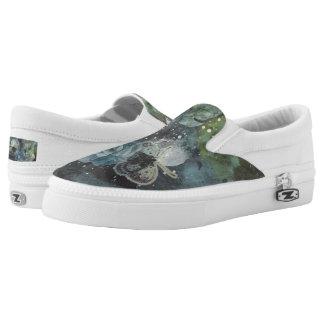 Painted Floral & Butterflies - Dark Printed Shoes
