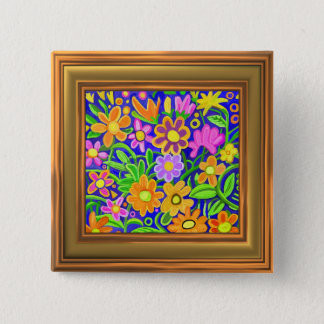 Painted Floral Composition (frame effect border) Button