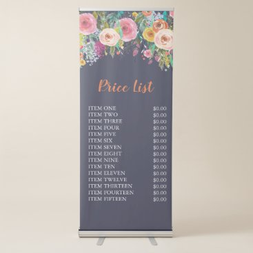 Painted Floral Free Standing Business Price Sign