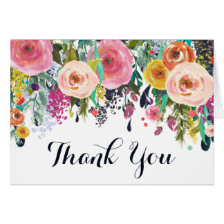 Painted Floral Garden Thank You Flip Greeting Card