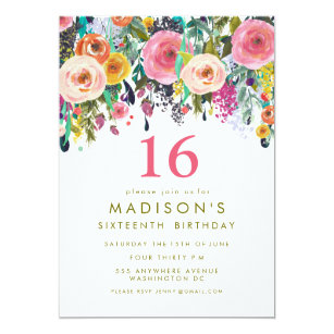 girls sweet 16 invitations zazzle