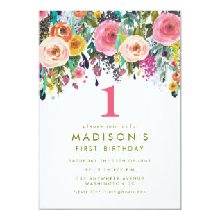Painted Floral Girls 1st Birthday Invite at Zazzle