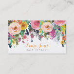 "Painted Floral Hair Stylist Appointment Cards<br><div class=""desc"">Gorgeous bright spring acrylic hand painted floral background... so soft and feminine and beautiful! modern but vintage style, chic, stylish, stylist business card, appointment card template that you can personalize easily yourself here and now online and have them delivered to your door! Gorgeous quality printing To personalize with your own...</div>"