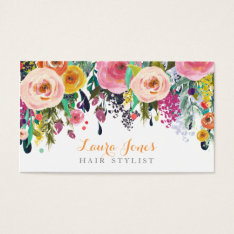 Painted Floral Hair Stylist Appointment Cards at Zazzle