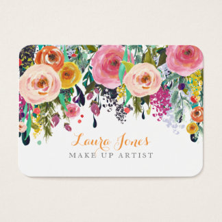 Painted Floral Make Up Artist Appointment Cards