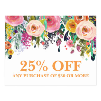 Painted Floral Marketing Promotions Postcard