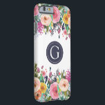 "Painted Floral Monogram Iphone 6 Case<br><div class=""desc"">Beautiful hand painted flowers. Shows the texture and beauty of the acrylic paint strokes. Gorgeous bright spring colors (pinks, yellows, oranges, greens and navy blue). Your own initial / monogram printed on the iphone 6 case. Personalize easily for yourself or for a gift. Perfect unique, custom made iphone case gift...</div>"