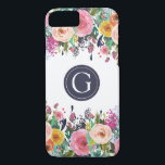 "Painted Floral Monogram iPhone 7 Case<br><div class=""desc"">Beautiful hand painted flowers. Shows the texture and beauty of the acrylic paint strokes. Gorgeous bright spring colors (pinks, yellows, oranges, greens and navy blue). Your own initial / monogram printed on the iphone 6 case. Personalize easily for yourself or for a gift. Perfect unique, custom made iphone case gift...</div>"